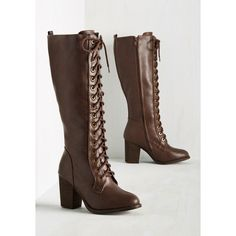 Minimal Picking Up Steampunk Boot ($65) ❤ liked on Polyvore featuring shoes, boots, laced boots, knee-high lace-up boots, laced up boots, knee high lace up boots and vegan boots