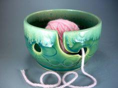 Mini Knitti Go-Go Yarn Bowl, drill holes in greenware & cut slit before glazing