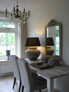 ♅ Dove Gray Home Decor ♅  dining room