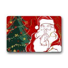 Christmas Doormats Vintage Style Santa Claus And Xmas Tree Custom  Personalized Durable Machinewashable Indooroutdoor Door Mat