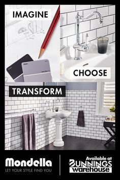 At Mondella, we'll help you plan, design and create your new bathroom. Available at Bunnings Warehouse Furry Drawing, Bathroom Inspo, Plan Design, Beautiful Bathrooms, Affordable Fashion, Warehouse, Your Style, Finding Yourself, How To Plan