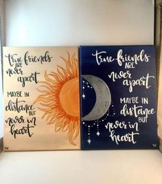 Wahre Freunde der Sonne & Mond Abstand Leinwand Set 2 – Hand Termin mit Brief … True Friends of the Sun & Moon Distance Canvas Set 2 – Hand Appointment with Letter … Christmas Paintings On Canvas, Canvas Painting Quotes, Cute Canvas Paintings, Easy Canvas Painting, Moon Painting, Diy Canvas Art, Canvas Quotes, Diy Painting, Canvas Ideas