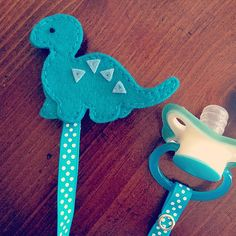 Blue Dinosaur Felt Pacifier Clip Baby Shower by weeandmestyle