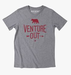 Another t-shirt idea for an outdoor lifestyle brand called Wild Scout. Venture Out is all about exploring new places and wild spaces. Whether it's far away or right in your own backyard don't stop exploring. #t-shirt #fashion