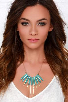 Cute Gold and Turquoise Necklace - Boho Necklace - $10.00