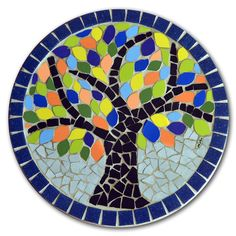 A tree picture Circle eramic mosaic Mosaic Stepping Stones, Stone Mosaic, Mosaic Glass, Glass Art, Tile Art, Mosaic Art, Mosaic Tiles, Mosaic Crafts, Mosaic Projects