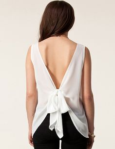 Buy White Sleeveless Backless Lacy Chiffon Vest from abaday.com, FREE shipping Worldwide - Fashion Clothing, Latest Street Fashion At Abaday.com