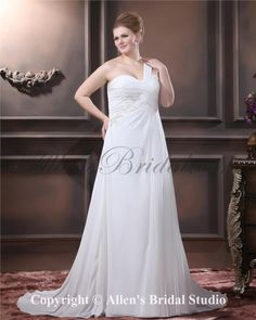 Fashionable One Shoulder Chiffon Embroidered Sweep Train Plus Size Wedding Dress on sale at affordable prices, buy Fashionable One Shoulder Chiffon Embroidered Sweep Train Plus Size Wedding Dress at AllensBridal.com now!