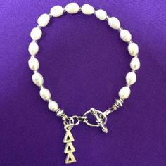 Licensed Delta Delta Delta Freshwater Pearl Bracelet w/Toggle Clasp - pinned by pin4etsy.com