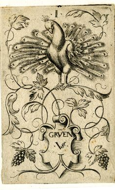 Playing-cards, the ace of peacocks -- Print made by Virgil Solis, c.1550