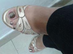 Sandalias en plataforma, cuero pigmentado dorado♥