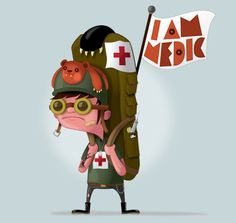 "Made by: Christopher Lee , ""I am Medic"" illustration - (Red Cross sign) Girl Artist, Art Girl, Character Illustration, Illustration Art, Vector Illustrations, Pixar, Comic, Animation, Party Centerpieces"