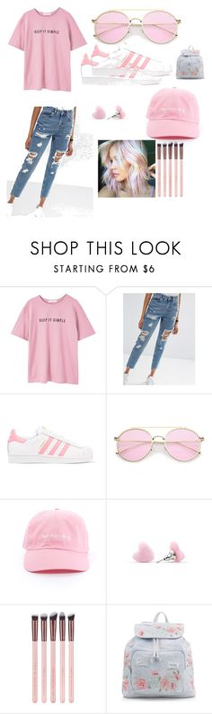 """""""pink casual"""" by emilystyle13 ❤ liked on Polyvore featuring MANGO, ASOS, adidas Originals and New Look"""