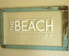 old window frame with wall decal saying on glass