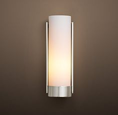 RH's Powell Sconce:Clean, lean lines are softened by a frosted glass shade set on a circular base. Bathroom Sconces, Wall Sconces, Bathroom Lighting, Master Bathroom, Bathroom Ideas, Bathroom Designs, Small Bathroom, Beach Bathrooms, Rustic Bathrooms