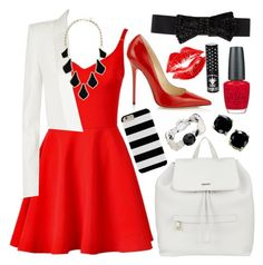 """Red, White, and Black"" by grace-xcix ❤ liked on Polyvore"