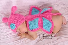 Crochet Butterfly for newborn girl and baby girl in pink and blue with flower, photo prop, girl, baby, Newborn girl, first photo on Etsy, $21.95