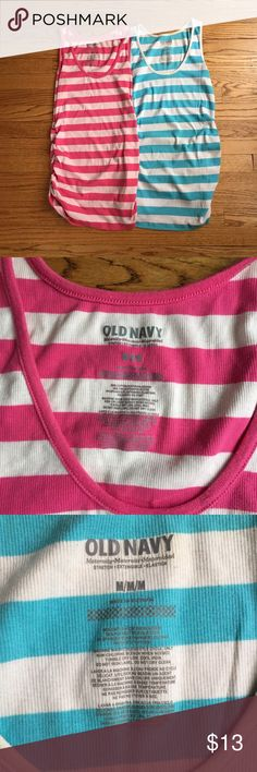 2 Old Navy Maternity tank tops 2 maternity tanks - pink stripe and turquoise stripe Old Navy Tops Tank Tops