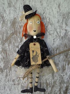 PRIMITIVE HALLOWEEN WITCH Doll Shelf Sitter with Skeletons in Antiques, Primitives | eBay