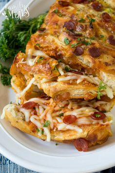 This Pull Apart Pizza Bread is the perfect solution. You just put the whole loaf out on the table, and people grab pieces and enjoy!