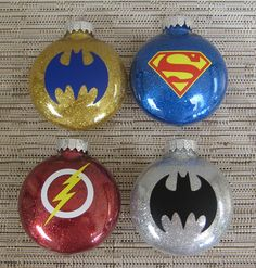 Superhero Glitter Ornaments With Vinyl by TheHappyHook on Etsy