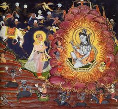 Prince Subuddhi (a heroic ancestor of the Rathore dynasty) meets Shiva in the Forest of Illusion.  Artist: Amardas Bhatti.  Marwar painting, Gouache on handmade paper, 1830. Mehrangarh Museum Trust.