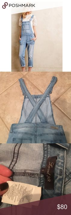 Anthropologie overalls Very comfortable pair of level 99 lily overalls from Anthropologie. Straps cross in the back. Excellent condition! Anthropologie Pants Jumpsuits & Rompers