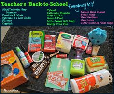 Back to school teachers gift & printable - Back To School Emergency Kit, School Kit, Back To School Teacher, Middle School, School Stuff, Locker Kit, Crafts To Make, Diy Crafts, Diy Gift Baskets