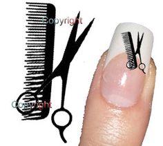 40 Scissors Hairdresser Tattoo Nail Art Decals sticker. $3.00, via Etsy.
