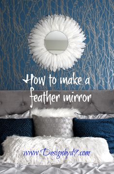 When I made this feather mirror. I worked hard to ensure it was nice and round and balanced. What can I say, I'm a perfectionist. Are you? Let me walk you through the process in my youtube video! Mirror Makeover, Diy Mirror, Luxury Home Decor, Diy Home Decor, How To Make Diy Projects, Feather Wall Decor, Diy Interior, Interior Design, Pinterest Diy