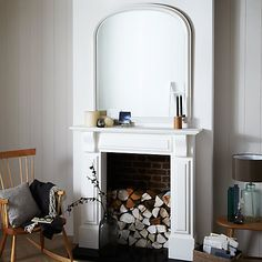 Buy White John Lewis Croft Collection Large Overmantle Mirror, 120 x from our Mirrors range at John Lewis. Lounge Mirrors, Living Room Mirrors, Mirror Over Fireplace, Home Fireplace, Fireplaces, Mirror Inspiration, Bedroom Inspiration, Overmantle Mirror, White Mirror