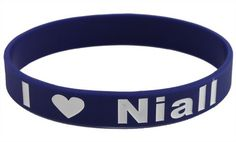 Navy Blue with White I Love Niall One Direction Silicone Wristband Bracelet Silicone Bracelets, Birthday List, One Direction, Navy Blue, Belt, My Love, Top, Accessories, Belts