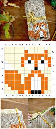 50 Free Crochet Fox Patterns – Crochet Fox Hat - Another! Crochet Eyes, C2c Crochet, Tapestry Crochet, Crochet Chart, Free Crochet, Crochet Fox Pattern Free, Crochet Stitches Patterns, Knitting Patterns, Hat Patterns