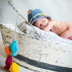 Baby Boy Fishing Hat  - Photography Prop Newborn - 12 Months on Etsy, $20.00