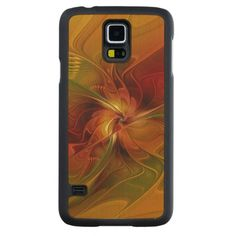 Abstract Red Orange Brown Green Fractal Art Flower Carved® Maple Galaxy S5 Case