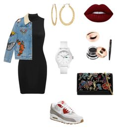 """🦀"" by larissa-coimbra on Polyvore featuring moda, Gucci, NIKE, Yves Saint Laurent, Lime Crime, Lacoste e Fragments"
