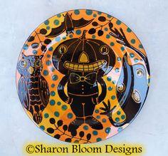 Halloween Ceramic Dinner Plate Pumpkin Man Owl by sharonbloom, $60.00