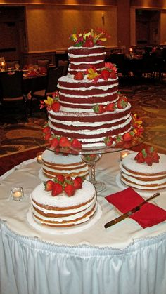 Strawberries and red velvet wedding cake - Lexington Lansing Hotel, MI. Maybe with a coconut cream cheese frosting served with glasses of milk.