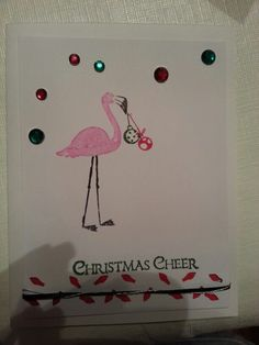Stampin Up Flamingo Lingo Christmas Cheer card
