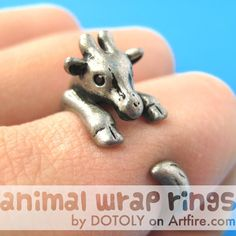 Baby Giraffe Animal Wrap Around Ring in Silver - Sizes 4 to 9 Available