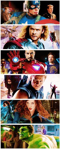Marvel's The Avengers- Captain America: Steve Rogers, Thor: Thor Odinson, Ironman: Tony Stark, Hawkeye: Clint Barton, Black Widow: Natasha Romanoff, and Hulk: Bruce Banner