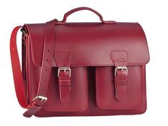 Ruitertassen Schultasche Lehrertasche mit 2 Fächern (A4 Format) 2 Vortaschen, Tragegriff und Schultergurt - Farbe rot
