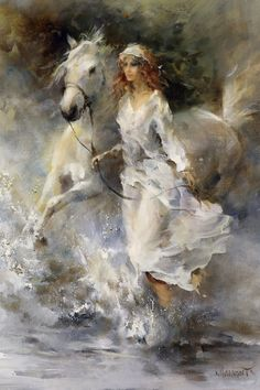 Impressionist painter, born in 9 october Willem Haenraets is an Hollandaise painter, known for the Plein-air watercolors street scenes. With soft colors, the artist conjures up a romantic world Painted Horses, Woman Painting, Painting & Drawing, Arte Equina, Images D'art, Urbane Kunst, Equine Art, Horse Art, Beautiful Paintings