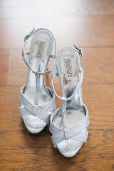 Silver Sparkly #BadgleyMischka Shoes | See the wedding on #SMP ~ http://www.stylemepretty.com/2013/12/13/sarasota-fl-wedding-at-ca-dzan-mansion/  Photography: Katie Lopez Photography
