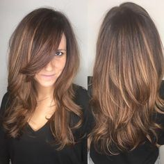 Sexy Layered Cut with Long Peekaboo Bangs - 50 Cute Long Layered Haircuts with Bangs 2019 - The Trending Hairstyle - Page 16 Long Layers With Bangs, Long Layered Cuts, Layered Haircuts With Bangs, Curly Hair With Bangs, Haircut For Thick Hair, Short Hair Updo, Curly Hair Styles, Cuts For Thick Hair, Side Bangs With Long Hair