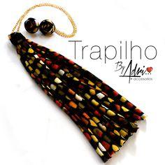 Muchos Estampados! flecos en tela con cadena + zarcillos #accesorios #trapillo #tela #extralargo