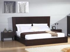 "Beverly Hills Escape Bed - Platform bed with solid wood framed case goods. Upgraded ""soft-close"" tracks. Available in Wenge and Natural Oak."