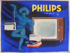 Description: Original artwork / maquette by Raoul Eric Castel. This working drawing of the poster for Philips shows the record player is cut out and glued into place; creases over painting; figures el