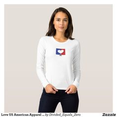Heart, Love America, Patriotic, Political, Red White and Blue,  American Apparel Jersey Long Sleeve T Shirt