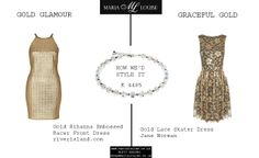 We love this necklace by Coeur de Lion (K 4485). Here's how we'd style it, with River Island and Jane Norman clothing. #golddress